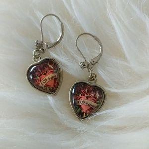 Betsey johnson heart shaped dangle earrings